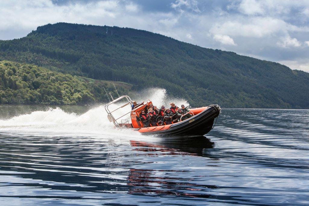 Rib Boat racing aacross Loch Ness near Fort Augustus